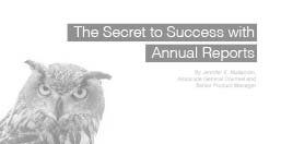 The Secret to Success with Annual Reports